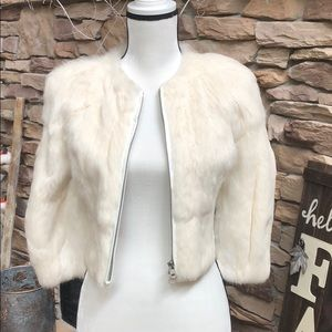 Armani Exchange cropped winter white fur jacket